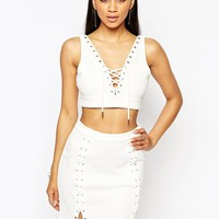 Missguided Eyelet Lace Up Mini Skirt at asos.com