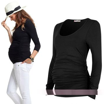 Long Sleeve Maternity Cotton Top