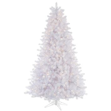 6.5' Pre-Lit Crystal White Artificial Christmas Tree - Multi-Color Lights
