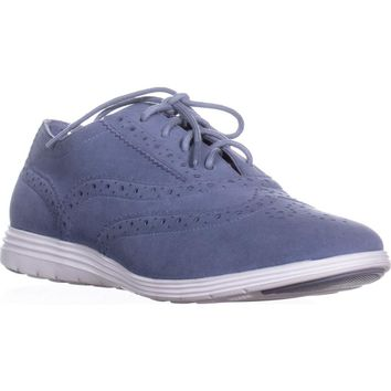 Cole Haan Grand Tour Oxford Sneakers, Cornwall Blue/Optic White Suede, 7.5 US