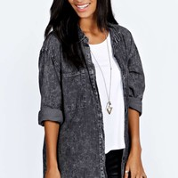 Sarah Acid Wash Oversized Denim Shirt
