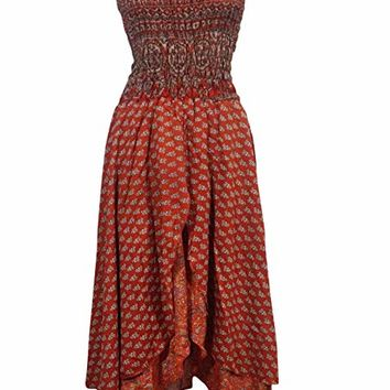 Mogul Womens Dream Believer Strappy Dress Recycled Vintage Silk Sari Boho Sundress S (red): Amazon.ca: Clothing & Accessories