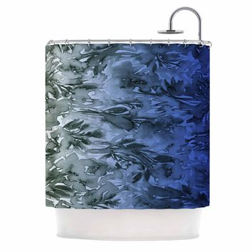 "Ebi Emporium ""Forever Flowers, Blue Ombre"" Blue Gray Watercolor Shower Curtain"