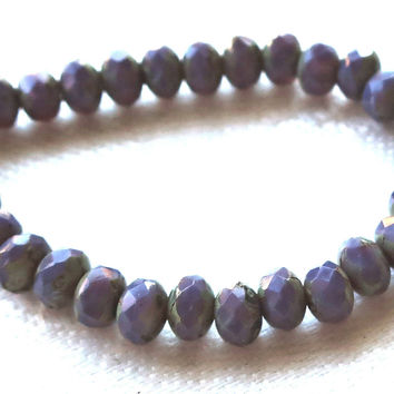 30 small Czech glass puffy rondelle beads, 3mm x 5mm opaque milky lavender, lilac, purple. amethyst faceted, picasso rondelles 51101