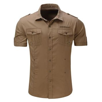 2017 Summer Men Military Shirt Short Sleeve Buttons Down Casual Shirt Mens Brand Clothing Social Chemise Homme Camisa Lapel Top