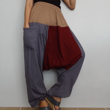 Gray, Red &Khaki Drop crotch long trouser,Unisex harem Baggy pants, unique cotton blend (Drop pants-28).