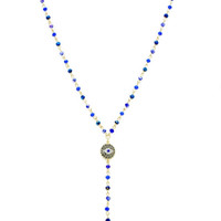 Royal Blue Crystal Beaded Evil Eye Hamsa Y Shape Necklace
