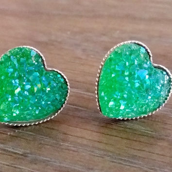 Druzy earrings- Green heart drusy silver tone stud druzy earrings