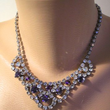 Great Gatsby Jewelry, Wedding Jewelry, Amethyst Rhinestone Choker, Diamante Bib, Diamante Collar, Rhinestone Swag, Art Deco Jewelry, Purple