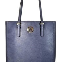 Michael Kors Jet Set Travel Large NS Tote Bag Navy Saffiano Leather