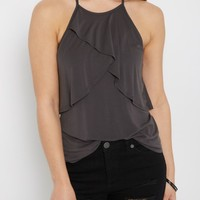 Charcoal Layered Flounce Cami | Going Out Tank Tops | rue21