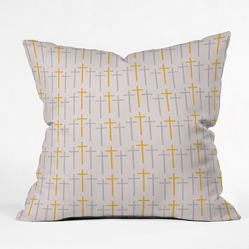 Allyson Johnson Yellow Cross Throw Pillow
