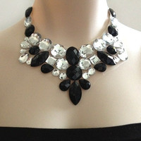 black and white romantic bib necklace - rhinestone statement necklace, bridal necklace, bridesmaids necklace, prom necklace gift or for you