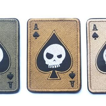 Ace of Spades Death Card Morale Patch embroidery biker motorcycle  patch military tactical hook  for cloth vest