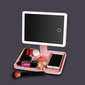 LED Touch Screen Makeup Mirror Professional Vanity Mirror With LED Lights Health Beauty Adjustable Countertop 180 Rotating