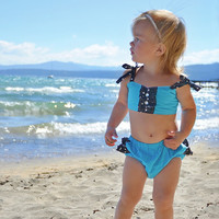 Turquoise and Black and White Polka Dot Sun Suit/ Infant Bathing Suit/ Baby Swim Suit/ Photo Prop/ Ruffle Bikini for Baby