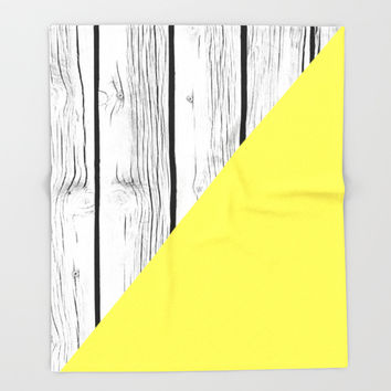 Yellow vs Wood Throw Blanket by ARTbyJWP