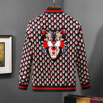GUCCI 2018 autumn and winter new style brand tiger head printing stand collar jacket F-A00FS-GJ