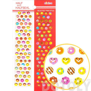 Donut Desserts Shaped Food Themed Puffy Stickers for Scrapbooking