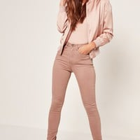 Missguided - Camel Sinner High Waisted Laced Up Skinny Jeans