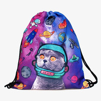 Space Cat Drawstring Backpack/Bag