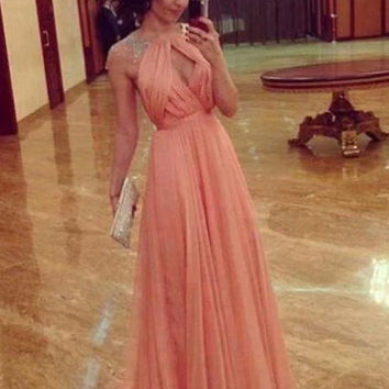 Custom Made Round Neck Cap Sleeves Backless Long Prom Dress, Long Formal Dress, Bridesmaid Dress