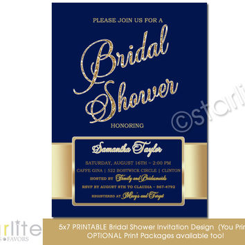 Navy Gold Bridal Shower invitation - navy blue gold glitter shower invitation 5x7 size - Printable Invitation Design - You Print