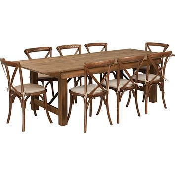 HERCULES Series 8' x 40'' Folding Farm Table Set with 8 Cross Back Chairs and Cushions