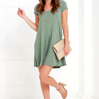 Others Follow Make a Splash Sage Green Lace Swing Dress