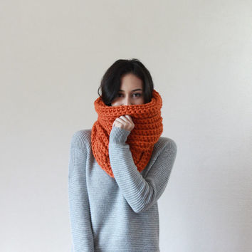 The Bordeaux, chunky ribbed neckwarmer cowl - PUMPKIN