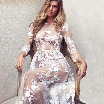 2018 New Sexy Women's Floral Embroidery Long Sleeves Boho Dress Ladies Evening Party Long Maxi Dress