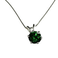 "Necklace Emerald Pendant 3mm 3.5mm 4 mm 4.5mm 5 mm in 14K gold including 16.5"" chain"