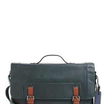 Men's Ted Baker London 'Boombag' Leather Messenger Bag - Green