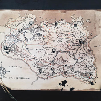 Authentic Hand-Painted Map of Skyrim