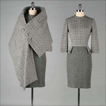 Vintage 1950s Dress . MR BLACKWELL .  Wool . Asymmetrical Matching Cape . M L . 2965
