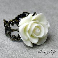 Vintage Inspired Blooming White Rose Flower Resin by Shininggift