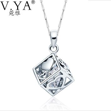 100% Real 925 Sterling Silver Pendant Necklaces for Women Jewelry Pure S925 Silver CZ Crystal Cube Pendants CP142
