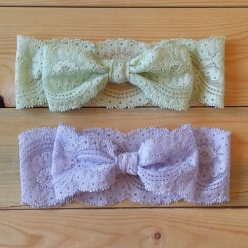 Lace Bow Head Wrap - Stretch Lace Bow Headband -  Pastel Lavender or Pastel Green