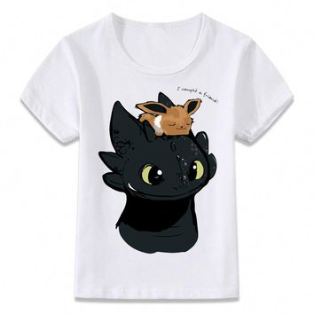 Kids Clothes T Shirt Eevee and Toothless Pokemon Sci-fi Boys and Girls Toddler Shirts Tee