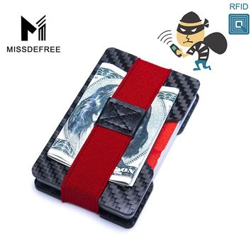 Carbon Fiber RFID Blocking Bills Money Clip Credit Card Protection Double Panel Holder Slim Wallet Minimalist Simple Small Purse