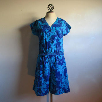 c495eb276 Tropical Floral Blue 80s Romper Vintage Summer Made in Hawaii Hi