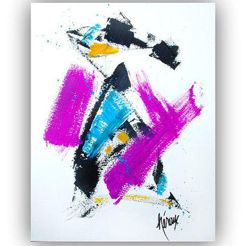 Modern ABSTRACT Art Painting - Colorful Bold Abstract Art - Purple Wall Art 11x14