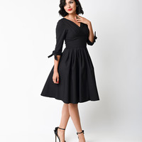 Unique Vintage 1950s Style Black Three-Quarter Sleeve Diana Swing Dress