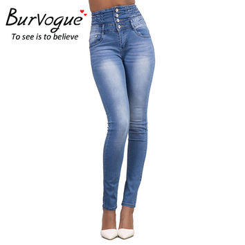 Burvogue Full Length Ripped Jeans Lady Pants Skinny Thin Jeans Long Pants Blue boyfriend jeans for women