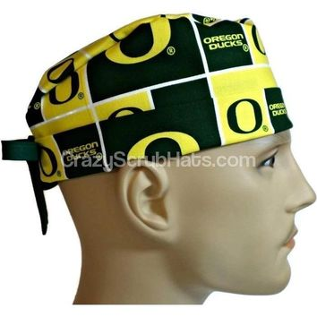 Men's Fold-Up Cuffed or Un-Cuffed Surgical Scrub Hat Cap in Oregon Ducks Squares