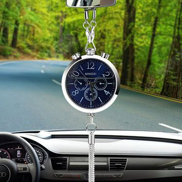 Alloy Car Clock Perfume Air Freshener Refill Storage Hanging Pendant Auto Rearview Mirror Interior Decoration Ornament Fragrance