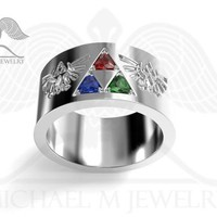 3 STONE LEGEND HYRULE CREST TRILLION EMERALD RUBY SAPPHIRE BAND CUSTOMMADE HANDMADE RING ***MADE TO ORDER
