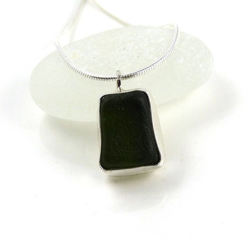 Hunter Green Bezel Set Sea Glass Pendant Necklace, Green Necklace, Sea Glass Necklace, ILA