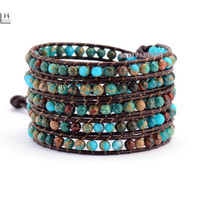 High Quality Natural Jasper Leather Wrap Bracelet Bracelet Unisex Natural Gem Stone Bracelet women Leather Rope Woven