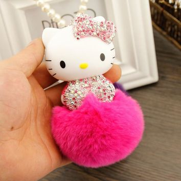 New Crystal Cute Hello Kitty Pearl Chain Car Hanging Pendant Ornament Car Accessories